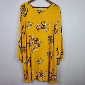Old Navy Mustard Floral Long Sleeves Dress Sz XXL